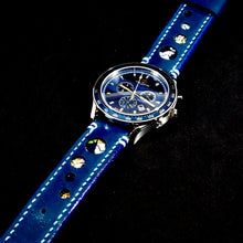 Load image into Gallery viewer, 47Ronin#277 Egyptian blue calf leather (22mm, Sky blue stitching)