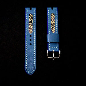 47Ronin#291 Royal blue calf leather (18mm, Sky blue stitching)