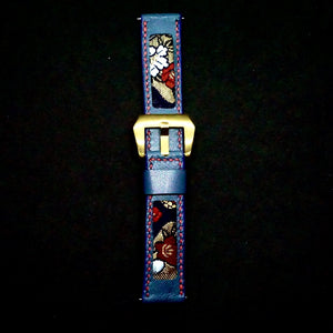 47Ronin#295 Royal blue calf leather (22mm, Red stitching)