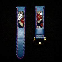Load image into Gallery viewer, 47Ronin#295 Royal blue calf leather (22mm, Red stitching)