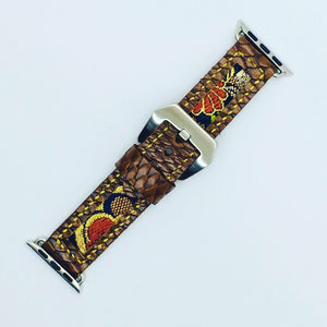 47Ronin#093 Chocolate brown calf leather with reptile print (20mm, yellow stitches)