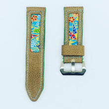 Load image into Gallery viewer, 47Ronin#089 Tan brown calf leather (24mm, Baby blue stitches)