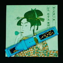 Load image into Gallery viewer, 47Ronin#110 Baby Blue calf leather with Japanese Kimono fabric (24mm, Navy stitches)