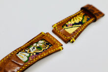 Load image into Gallery viewer, 47Ronin#100 Bronze brown calf leather watch strap with Japanese kimono fabric (24mm, yellow stitches)
