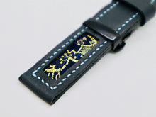 Load image into Gallery viewer, 47Ronin#111 Black calf leather with Japanese Kimono fabric (22mm, blue stitches)