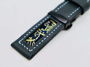 47Ronin#111 Black calf leather with Japanese Kimono fabric (22mm, blue stitches)