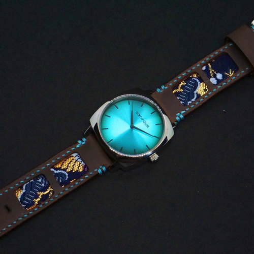 SIXOFOUR Series One - Westend Teal with 47Ronin#318 Mocha brown calf leather (22mm, Sky blue stitching)
