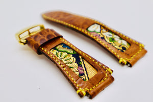 47Ronin#100 Bronze brown calf leather watch strap with Japanese kimono fabric (24mm, yellow stitches)