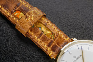 47Ronin#147 Dark brown croc embossed calf leather (20mm, Orange stitching)