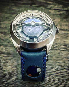 47Ronin#301 Sapphire blue calf leather (22mm, Navy blue stitching)