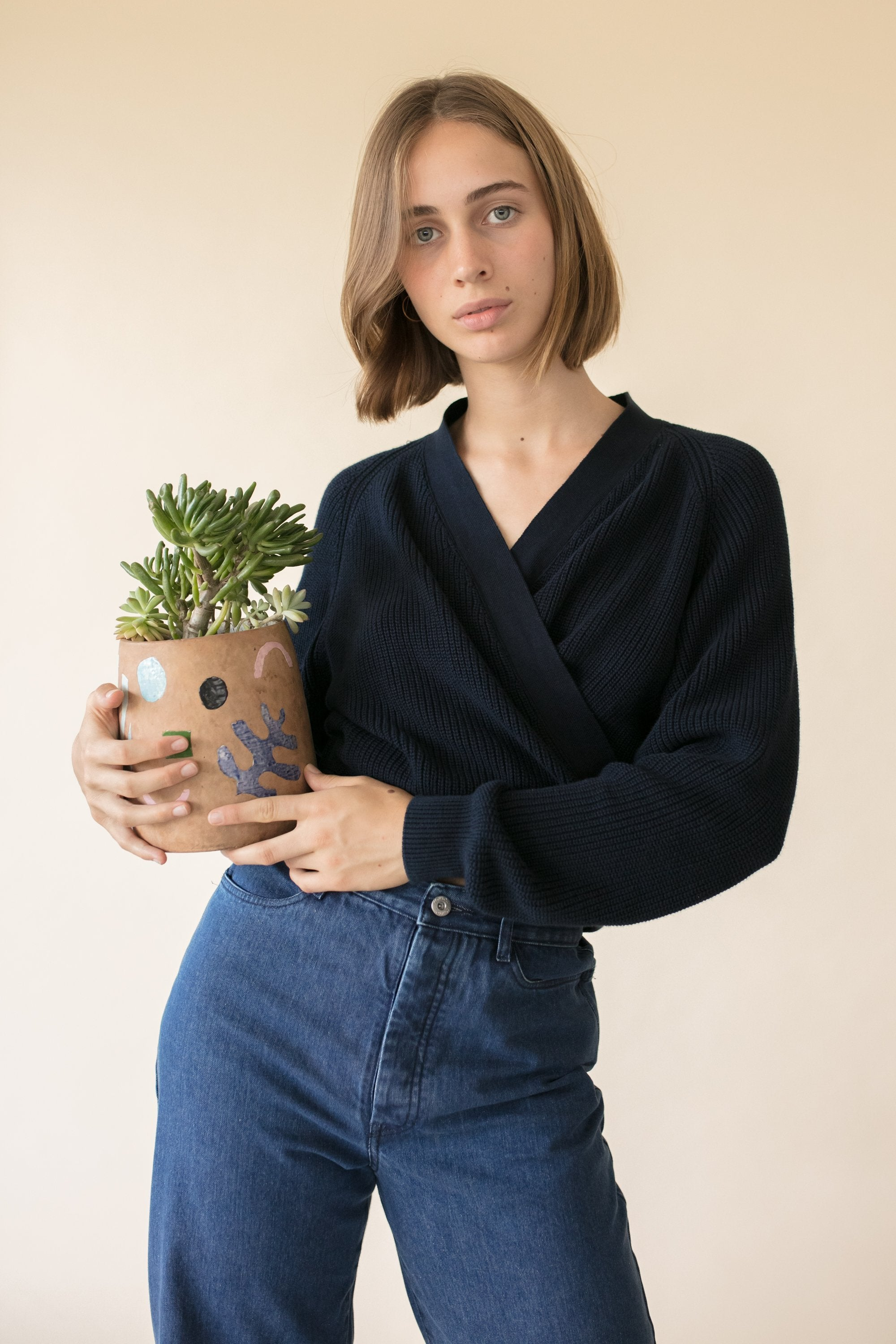 kowtow navy composure cardigan