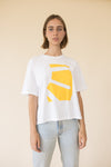 white and yellow t-shirt