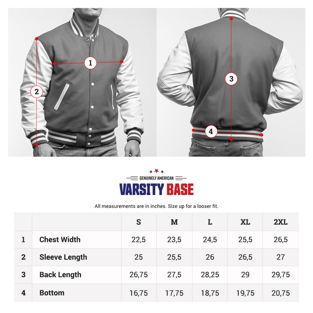 varsity base letterman jacket size chart