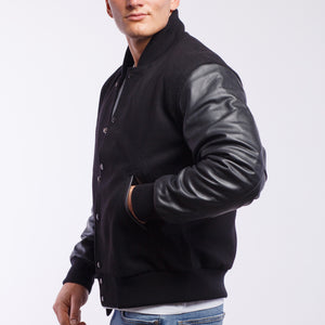 Black Wool / Black Leather - VarsityBase Letterman Jackets