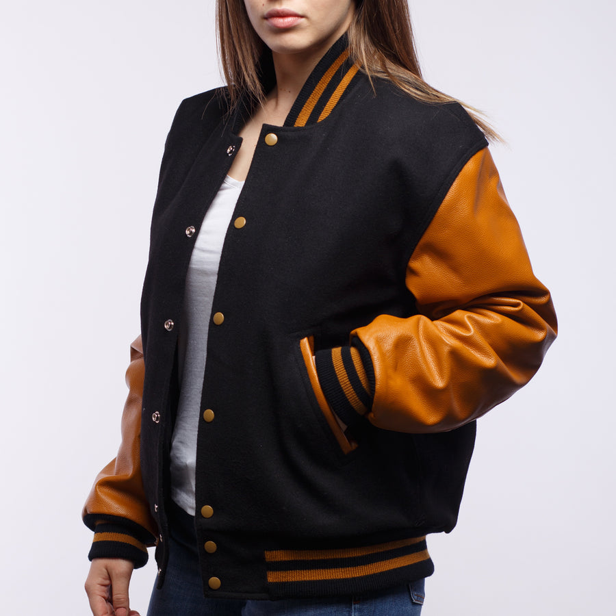 Black Wool / Old Gold Leather - VarsityBase Letterman Jackets