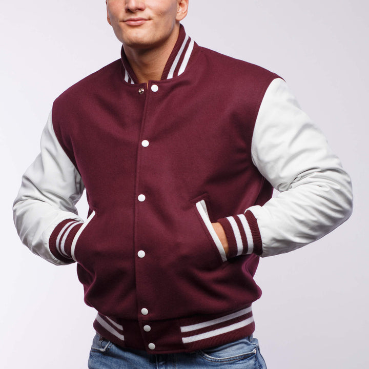 Maroon Wool / White Leather