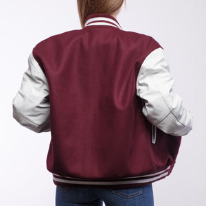 Maroon Wool / White Leather - VarsityBase Letterman Jackets