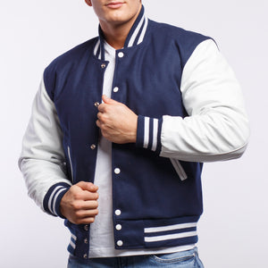 Royal Blue Wool / White Leather - VarsityBase Letterman Jackets