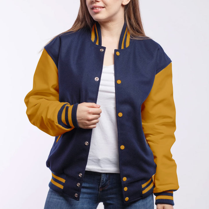 Royal Blue Wool/ Light Gold Leather - VarsityBase Letterman Jackets