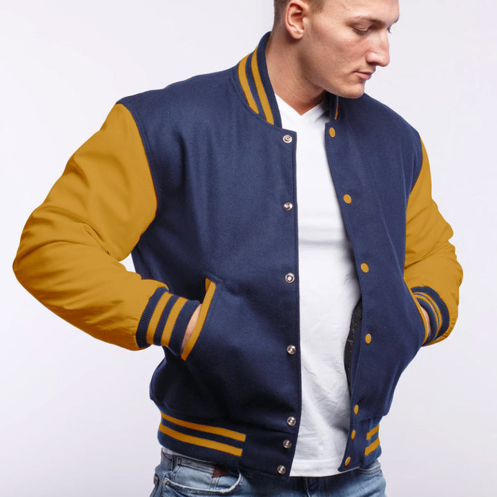 Royal Blue Wool/ Gold Leather - VarsityBase Letterman Jackets