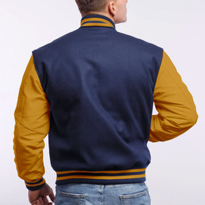 Royal Blue Wool/ Gold Leather