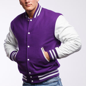 Purple Wool / White Leather - VarsityBase Letterman Jackets