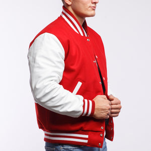 Scarlet Red Wool / White Leather - VarsityBase Letterman Jackets