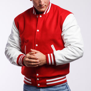 Red Wool / White Leather