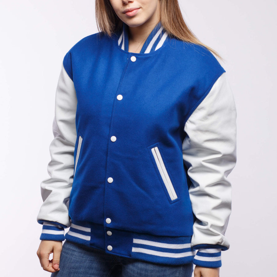 Bright Royal Blue Wool / White Leather - VarsityBase Letterman Jackets