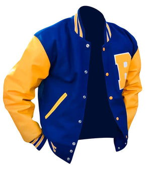 Bright Royal Blue Wool/ Gold Leather