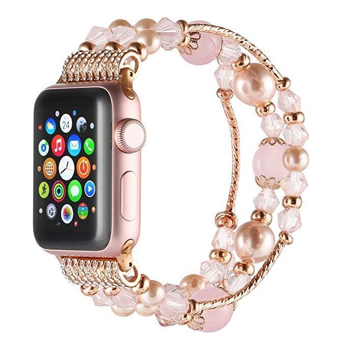 Handmade Fashion Beaded Elastic Bracelet Band for Apple Watch Series 4 3 2 1