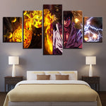 Naruto nine tailed and Sasuke 5 panel canvas