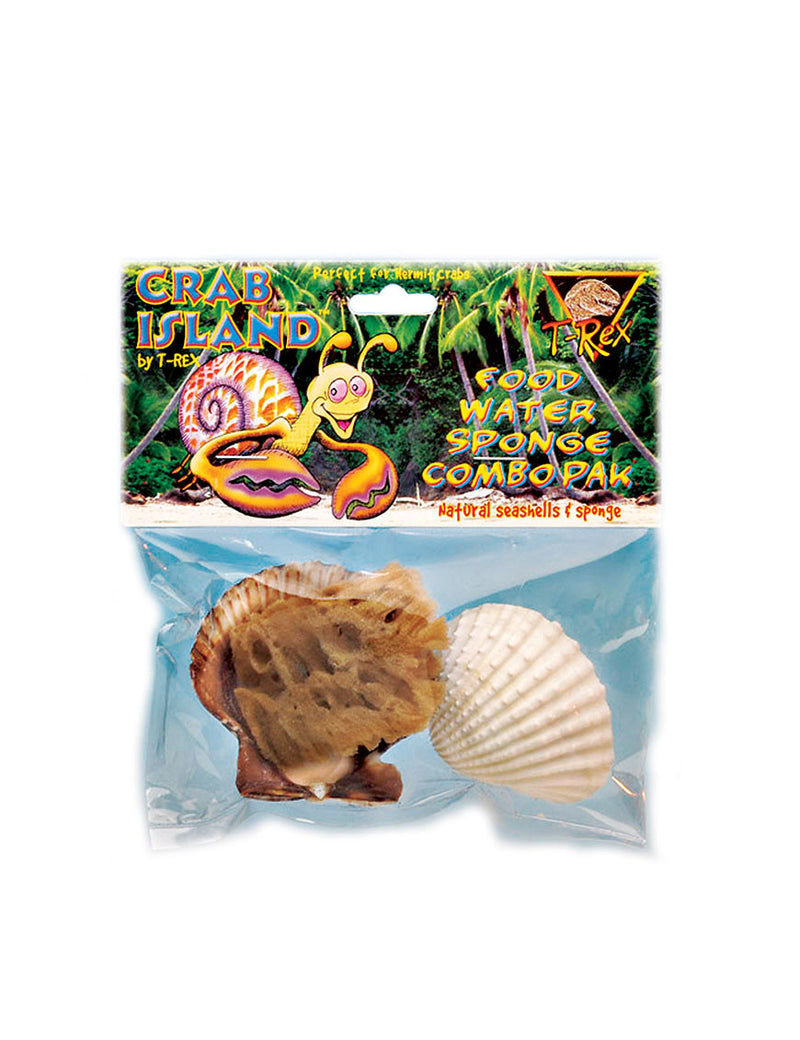 T-Rex Hermit Crab Accessory - Food & Water Dish & Sponge Combo