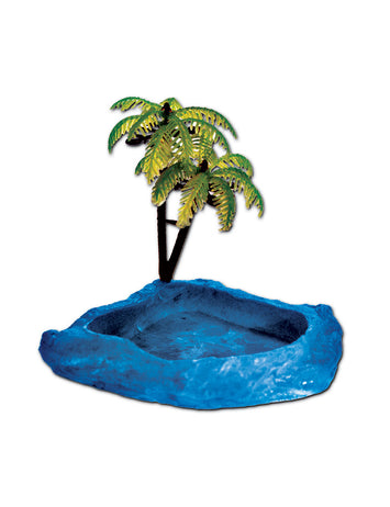 T-Rex Hermit Crab Accessory - Food & Water Dish with Palm Tree Blue