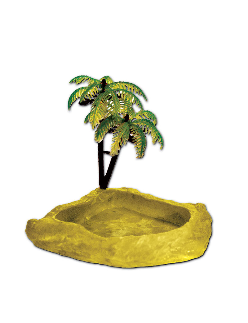 T-Rex Hermit Crab Accessory - Food & Water Dish with Palm Tree Yellow