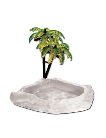 T-Rex Hermit Crab Accessory - Food & Water Dish with Palm Tree Glow in the Dark