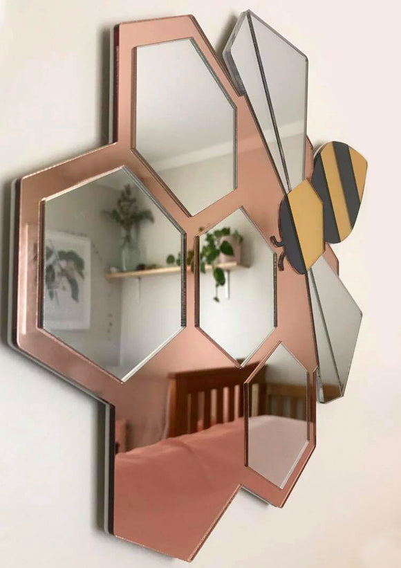 Bee Hive Mirror - MADE TO ORDER TILL NOV 29. LIMITED RUN.