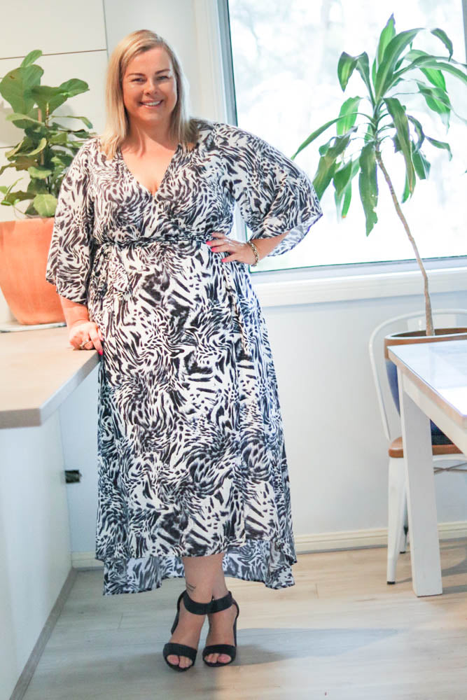 Aussie Curve Wrap Dress - Tiger