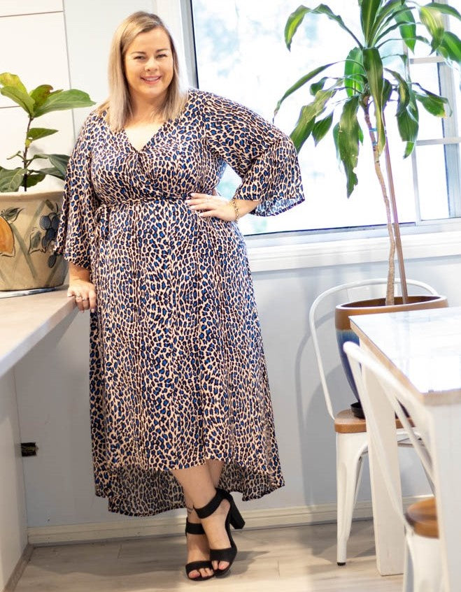 Aussie Curve Wrap Dress - Blue Leopard