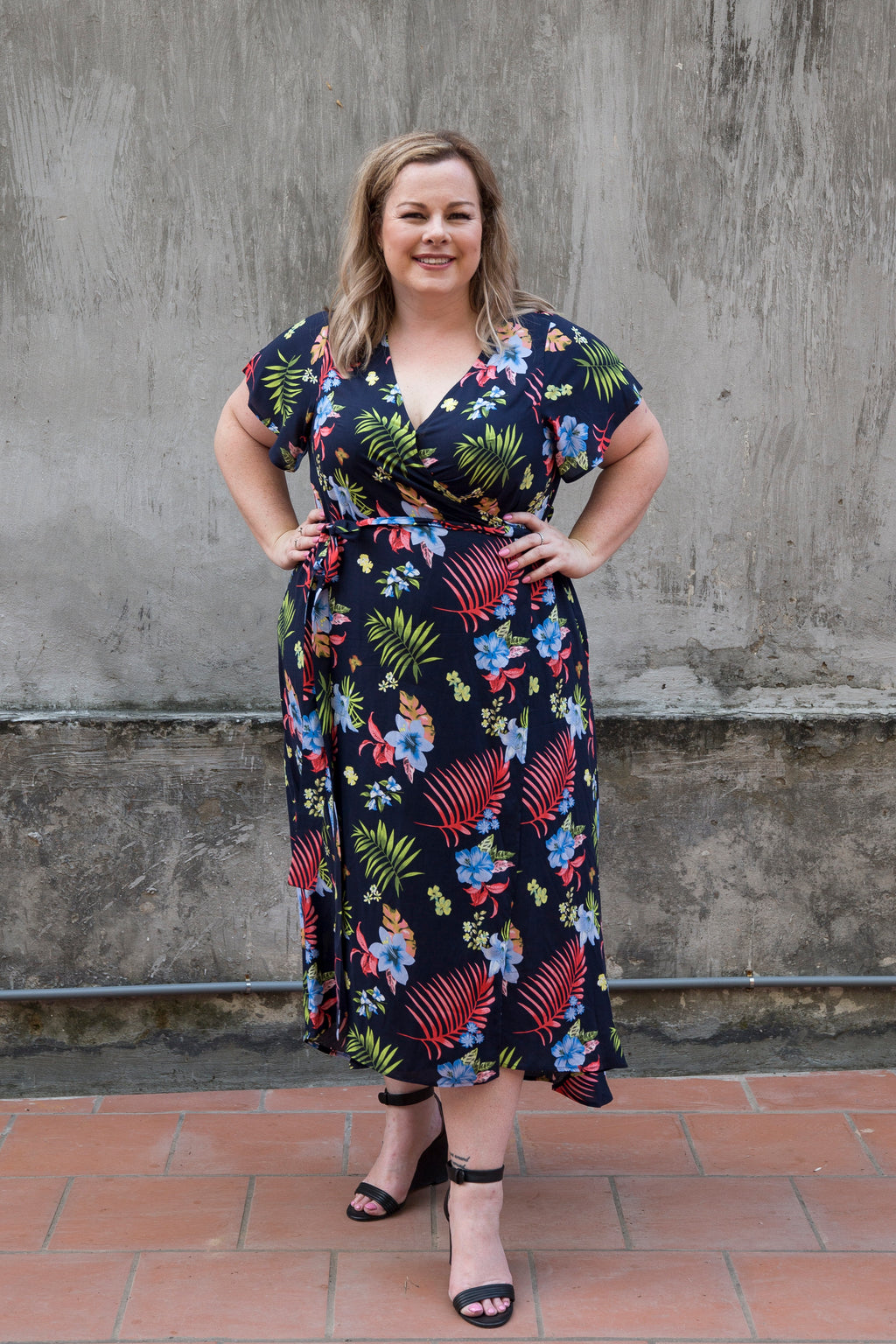 Aussie Curve Wrap Dress - Fern