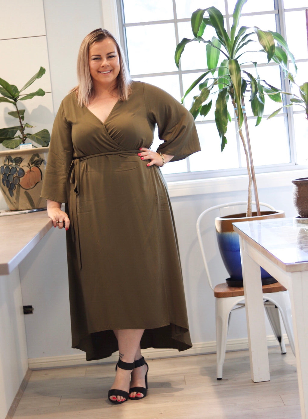 Aussie Curve Wrap Dress - Khaki