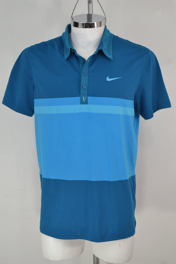 NIKE DRI-FIT Playera Polo Azul, Talla L