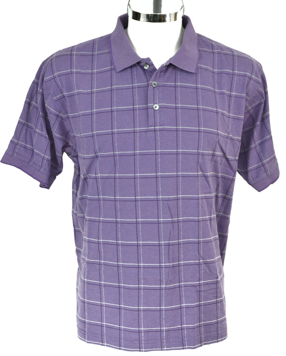 ALEX CANNON Playera polo morada a cuadros, Talla XL