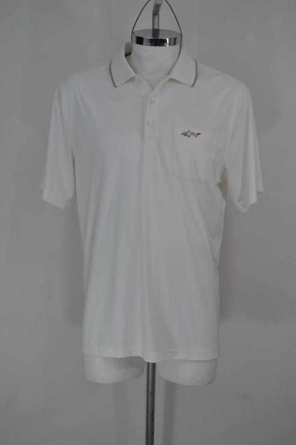 GREG NORMAN Playera Polo Blanca, Talla L