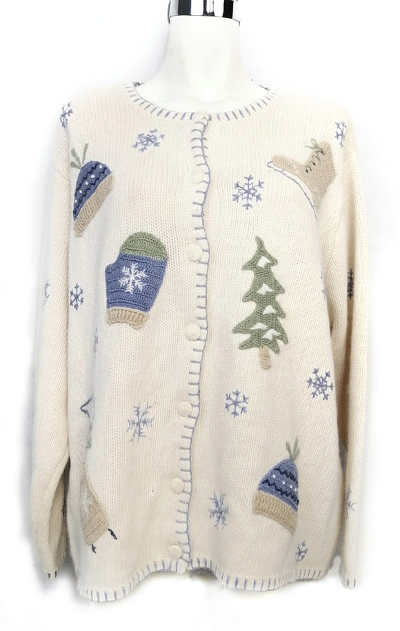CROFT & BARROW sueter blanco navideño Talla XL