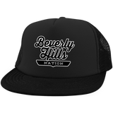 Black / One Size Beverly Hills Nation Trucker Hat with Snapback - The Nation Clothing