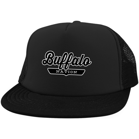 Black / One Size Buffalo Nation Trucker Hat with Snapback - The Nation Clothing