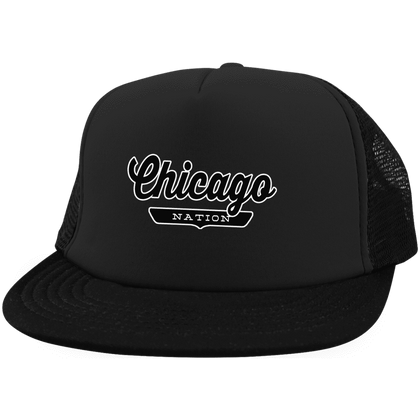 Black / One Size Chicago Nation Trucker Hat with Snapback - The Nation Clothing