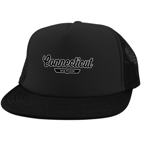 Black / One Size Connecticut Nation Trucker Hat with Snapback - The Nation Clothing