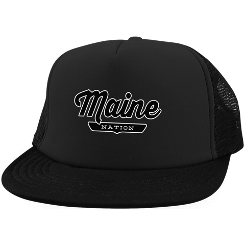 Black / One Size Maine Nation Trucker Hat with Snapback - The Nation Clothing